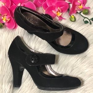 Eüro Soft by Sofft Black Suede Mary Jane Heels